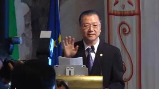 全球文化外交和宗教国际论坛 卢台长致辞(意大利罗马国会)1卢军宏视频